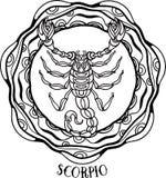 Scorpione dettagliato nello stile azteco Fotografia Stock Libera da Diritti