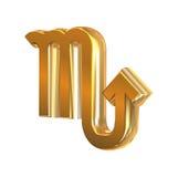 Scorpione dorato del segno dello zodiaco Immagini Stock Libere da Diritti