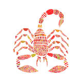 Scorpione nello stile dello zentangle su fondo bianco Fotografie Stock Libere da Diritti