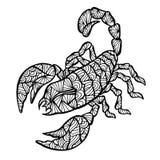 Scorpione stilizzato di vettore, zentangle illustrazione vettoriale