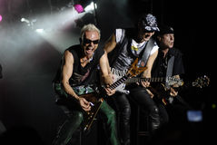 The Scorpions band. Klaus Meine, Rudolf Schenker and Matthias Jabs of The Scorpions band perform in Ottawa, Ontario, Aug.28. 2008 Royalty Free Stock Image