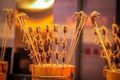Scorpions et hippocampes sur un bâton - nourriture chinoise typique Images libres de droits