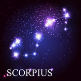 Scorpius zodiac sign of the beautiful bright stars. On the background of cosmic sky Royalty Free Stock Photo
