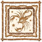 Scorpius Zodiac Sign on Native Tribal Leather Frame. Scorpius Zodiac Sign on Native Tribal and Grunge Leather Frame. Original Vector Graphic Art Copyright Royalty Free Stock Images