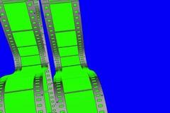Scorrimento verticale verde chiave della striscia di film del film di schermo di intensità sulla chiave blu di intensità illustrazione di stock