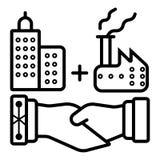 Scossa della mano di affare di acquisizione di affari dell'industria pesante illustrazione di stock