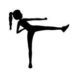 Scossa di arti marziali della donna della siluetta illustrazione vettoriale