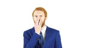 Scossa, uomo d'affari rosso della barba dei capelli che reagisce al guasto Fotografia Stock Libera da Diritti