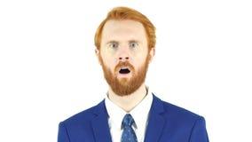 Scossa, uomo d'affari rosso domandantesi della barba dei capelli Fotografie Stock Libere da Diritti