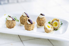Scotch breaded eggs  contemporary fusion style Stock Photo