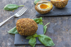 Scotch egg. Gourmet Scotch egg with running yolk Royalty Free Stock Image
