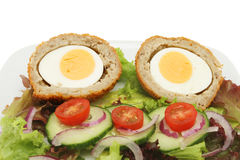 Scotch egg salad closeup Royalty Free Stock Photos