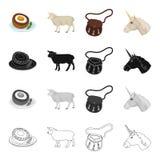 Scotch egg, sheep, national bag sporran, symbol of Scotland unicorn. Country Scotland set collection icons in cartoon Royalty Free Stock Photography