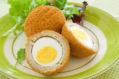 Scotch Eggs. On a plate with a green salad stock photography