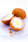 Scotch eggs. A halved scotch egg on plate on white Royalty Free Stock Photos