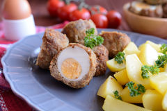 Scotch eggs with boiled potatoes. A plate of scotch eggs with boiled potatoes on a wooden background royalty free stock photography