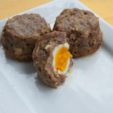Scotch Eggs. Consist of a hard-boiled egg wrapped in sausage meats Royalty Free Stock Photography