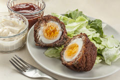 Scotch eggs cut in halves on a plate Stock Images