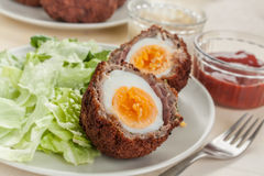 Scotch eggs cut in halves on a plate Royalty Free Stock Photo