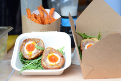 Scotch eggs on display at the market Stock Image