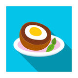 Scotch eggs icon in flat style isolated on white background. Scotland country symbol stock vector illustration. Royalty Free Stock Photography