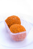 Scotch eggs in packaging. A pair of scotch eggs in supermarket packaging stock photo