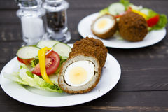 Scotch eggs. A plate of Scotch eggs and salad Stock Images