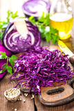 Scotch kale. Shredded on board Stock Photos