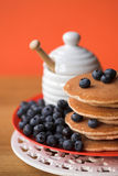 Scotch pancakes & blueberries Stock Image