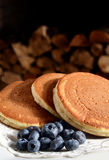 Scotch Pancakes And Blueberries Stock Photo