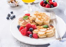 Breakfast with scotch pancakes Royalty Free Stock Images