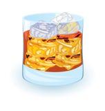 Scotch on rocks. Vector illustration of scotch on rocks cocktail on night disco background stock illustration