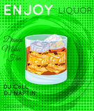 Scotch on rocks cocktail on grunge circle with green halftone te Royalty Free Stock Photography