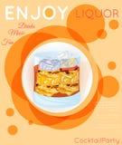 Scotch on rocks cocktail on orange circles Stock Photos