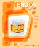 Scotch on rocks cocktail on orange rectangles Royalty Free Stock Image