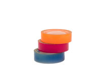 Scotch tape adhesive group colorful blue pink orange Stock Photo