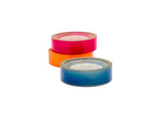 Scotch tape adhesive group colorful blue pink orange Stock Image