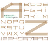 Scotch tape alphabet. And set of numbers stock illustration