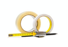 Scotch tape, Pencil and tape-measure Royalty Free Stock Photography