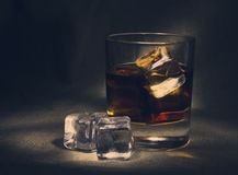 Scotch on textile background   old and vintage countertop with h Stock Photo