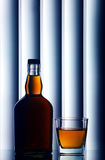Scotch whiskey bottle and glass Stock Image