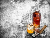 Scotch whiskey with a cigar. On a rustic background Stock Image