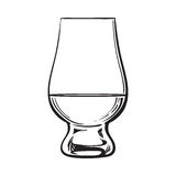 Scotch whiskey, rum, brandy nosing glass. Sketch style vector illustration isolated on white background. black and white hand drawing of nosing glass for royalty free illustration