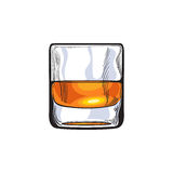 Scotch whiskey, rum, brandy shot glass. Sketch style vector illustration isolated on white background. Realistic hand drawing of a glass of whiskey shot stock illustration