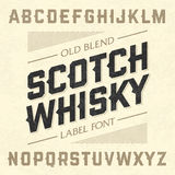 Scotch whiskey style label font with sample design Royalty Free Stock Photography