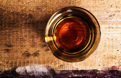 Scotch whiskey on wooden background with copyspace. An old and v Royalty Free Stock Photos