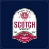 Scotch whisky label template. Vector vintage scotch whisky label on a dark blue background. Distilling business branding and identity design elments vector illustration