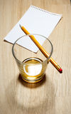 Scotch on wooden background with copyspace Stock Photos