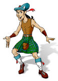 Scotchman dancing. Traditional drawing digitally colored stock illustration