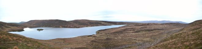 Scotish Loch High in the Hills - Panoramic Stock Image